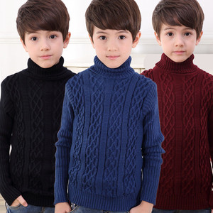 Image 3 - 2020 New Autumn Winter Boys Sweater Long Sleeved Round Collar Pullover Sweater Pure Color Knitting Fashion Children Clothes