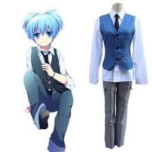 Japanese Anime Assassination Classroom Shiota Nagisa School Uniform Full Sets (Vest + Shirt + Tie + Pants) for Carnival Cosplay