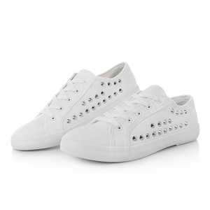 Image 5 - SWYIVY Women White Shoes Sneakers Rivet Punk 2018 Autumn Spring Female Casaul Shoes Ladies Leisure Sneakers Flat 44 Large Size