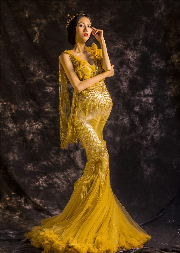 4bcb540e4b073 Noble Elegant Maternity Dresses Gold Maternity Photography Props ...