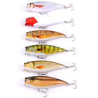 6pcs Fishing Lures Popper Lures Wobbler Hard Bait Treble Hooks Carp Fly Fishing Isca Artificial Pesca Fishing Tackle Wobblers