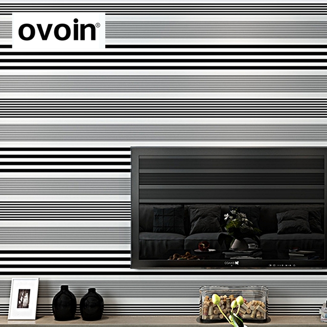 New Modern Design Caracteristique De Rayures Decor Papier Peint Noir