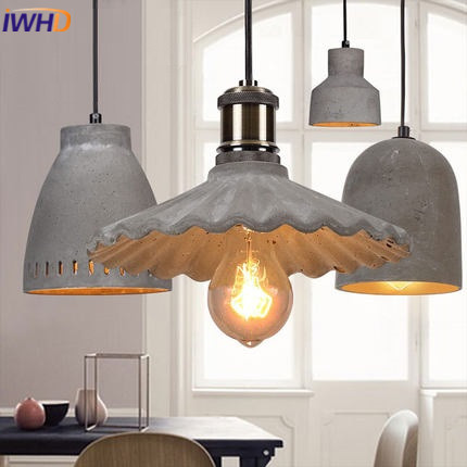 IWHD Style Loft Cement Pendant lights Retro Industrial Hanging Lamp Restaurant Kitchen Bedroom Hanglamp Lamparas Home Lighting iwhd gold iron style loft industrial vintage pendant lights retro birdcage hanging lamp kitchen dining room luminaire suspendu
