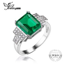 JewelryPalace Solid 925 Sterling Silver 2.7ct Created Emerald Zirconia Statement Ring Fine Jewelry for Women Wedding Party Gift