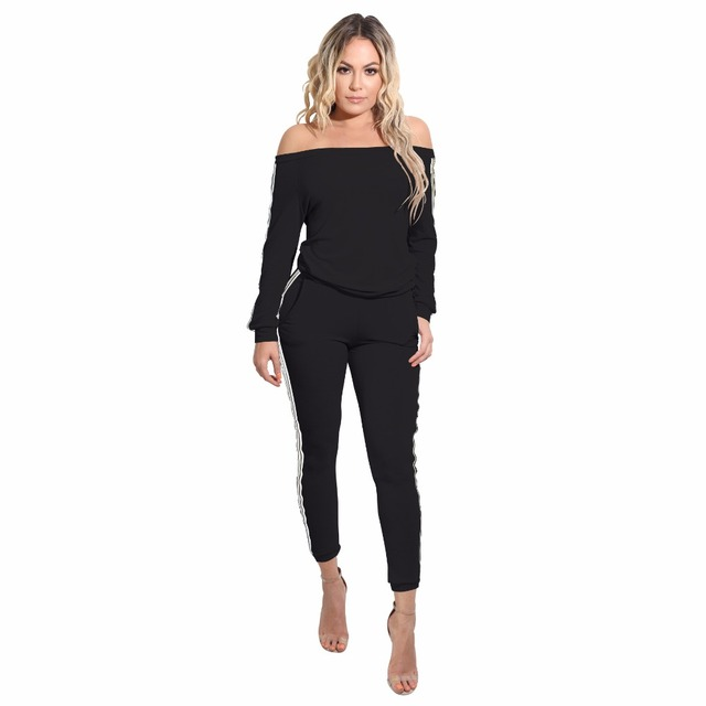 1a56071ec513 Autumn Two Piece Rompers Womens Jumpsuit Full Bodysuit White Black Striped  Slash Neck Outfits Sexy Skinny Long Sleeve Jumpsuit