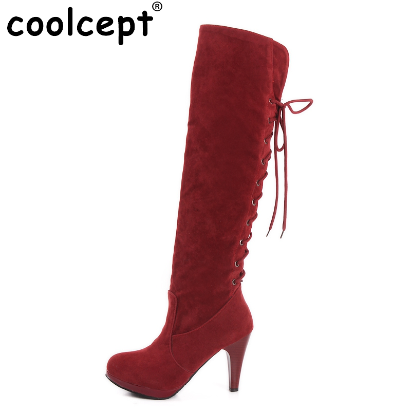 size 32-48 women high heel over knee boots ladies riding fashion long snow boot warm winter botas heels footwear shoes P6782 size 31 45 women real genuine leather high heel over knee boots winter warm long boot riding quality sexy footwear shoes r8297