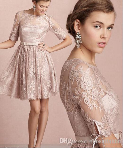 A corto Pastel rosa media manga de encaje vestidos fiesta 2016 ver a ...