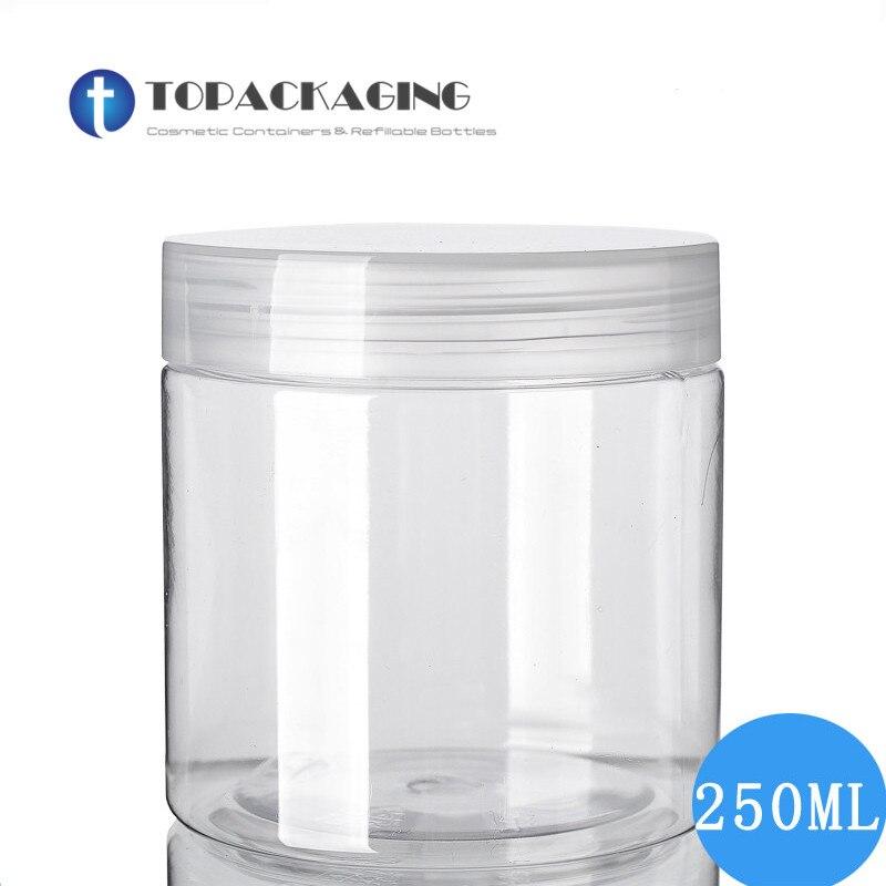 30 piezas * 250G tarro de crema envase cosmético vacío de plástico PET maquillaje máscara recargable claro recipiente tapa de tornillo de embalaje caja de latas-in Botellas rellenables from Belleza y salud on AliExpress - 11.11_Double 11_Singles' Day 1