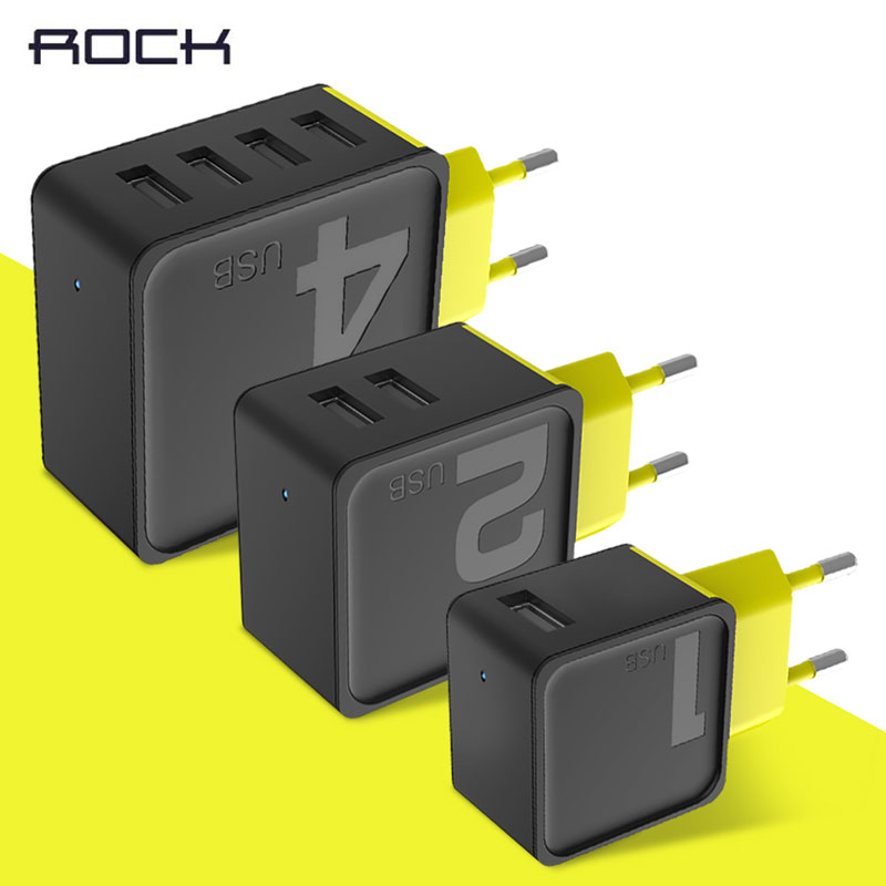 Genuine Rock Universal 2.4A 2 USB Sugar Travel phone Charger,1 2 4 USB phone fast Charger free shipping hot in 2017