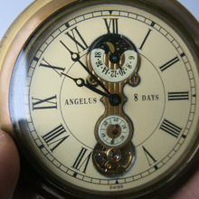 Редкий Старый династии Цин Королевский латунь стекло часы \ Механические карманные часы, звезды и луна, может работать, с маркой