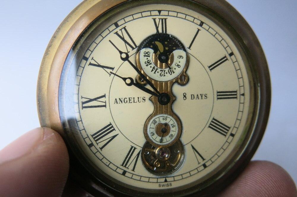 Rare ancienne dynastie Qing horloge en laiton royal en verre \ montre de poche mécanique, étoiles et la lune, peut fonctionner, avec marque, livraison gratuite