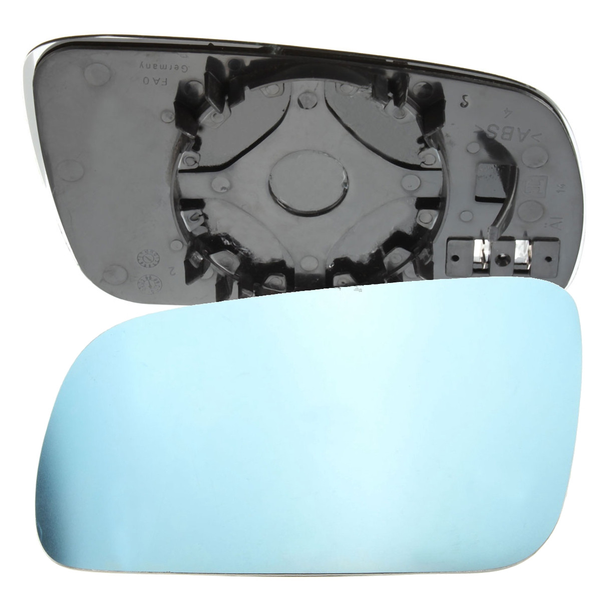 Right hand driver side wing door clip on mirror glass