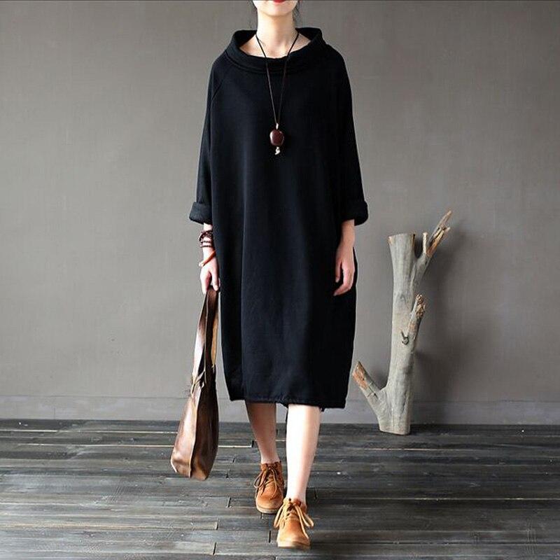 2017 nouvelle mode printemps automne Robe 100% coton femmes Robe lâche polaire épaississement col roulé à manches longues longue Robe