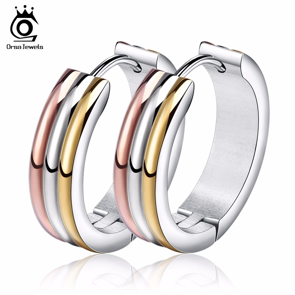 все цены на ORSA JEWELS Unique Multi Color Stainless Steel Hoop Earrings for Women Fashion Party Jewelry Wholesale GTE34 онлайн
