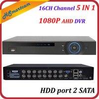 16CH AHD DVR 6 в 1 HD DVRS для 1080 P AHD CVBS CVI TVI IPC камеры iSO Android Мобильный вид Поддержка ONVIF XMeye HDD порт 2 SATA