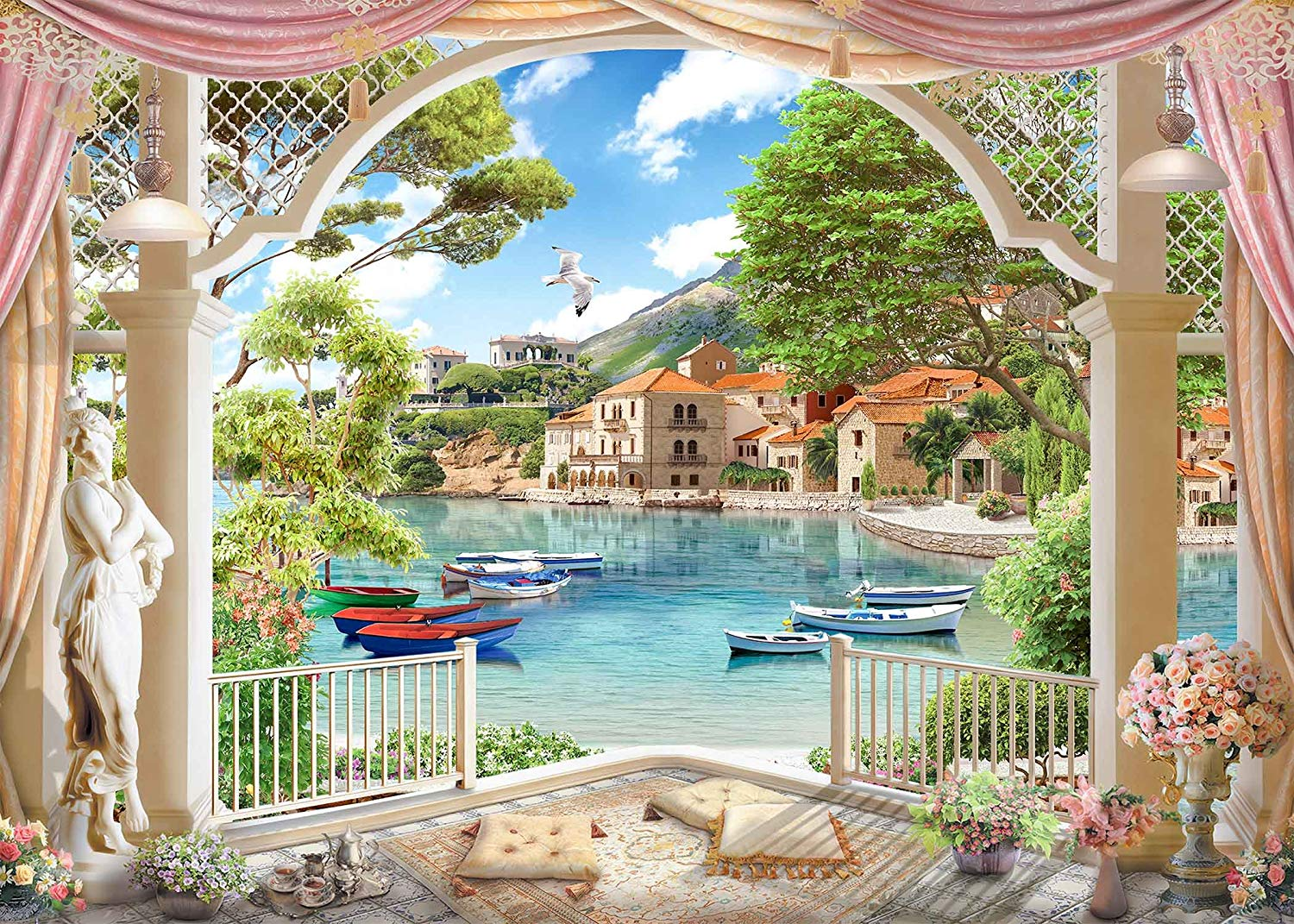7x5ft Family Spring Outing Backdrop Beautiful Lake Scene Photography Background Outgoing Photo Video Shooting Props in Photo Studio Accessories from Consumer Electronics