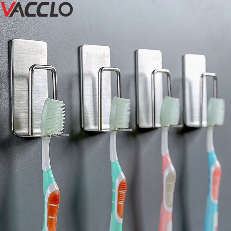 Vacclo Stainless Steel Adhesive Storage Hook Toothbrush Cup Holder 3M Sticker Bathroom Toothpaste Rack Hanger Organizer Tool