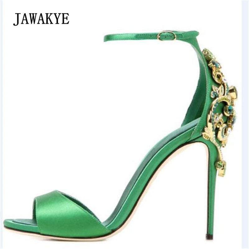 2018 Luxury Satin Gladiator Sandals Women Peep Toe Rhinestone Crystal Ankle Strappy High Heel Shoes Women Sexy Party Shoes