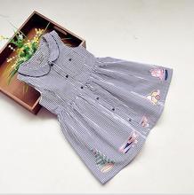 New 4 styles Girls doll Collar stripe Dresses Sailing bicycle car plane Summer princess sleeveless Dress wholesale 2017