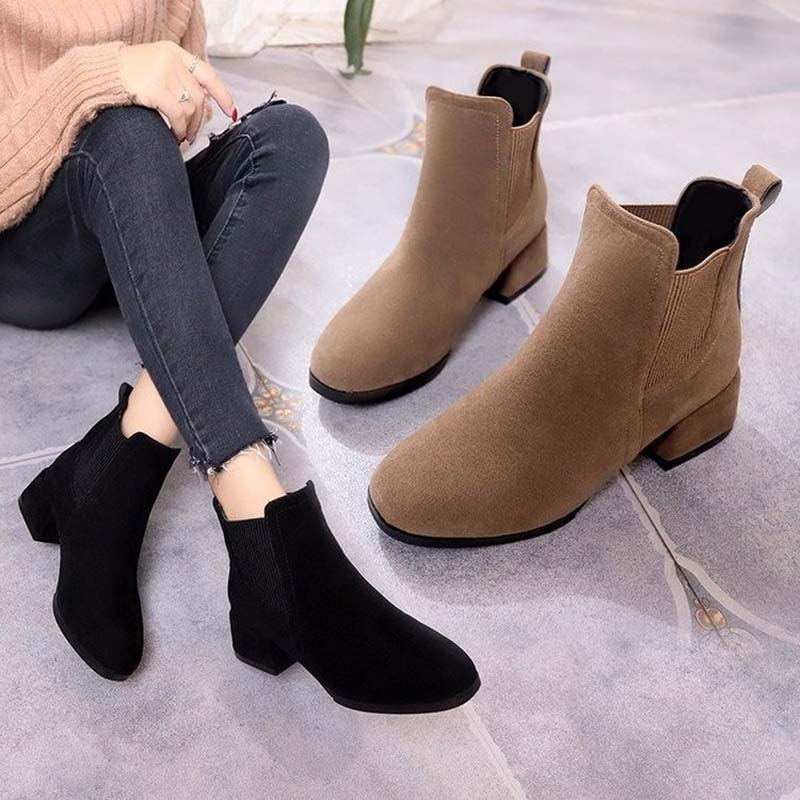 huge discount 853ef cb1ca Women Autumn Winter Flock Ankle Boots Slip-on Round Toe 3.5cm Square Heel  Solid Casual Black/Camel Booties Size 35-41