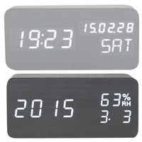 Black And White High Quality Digital LED Alarm Clock Light Digital LED Time Humidity Display Wooden