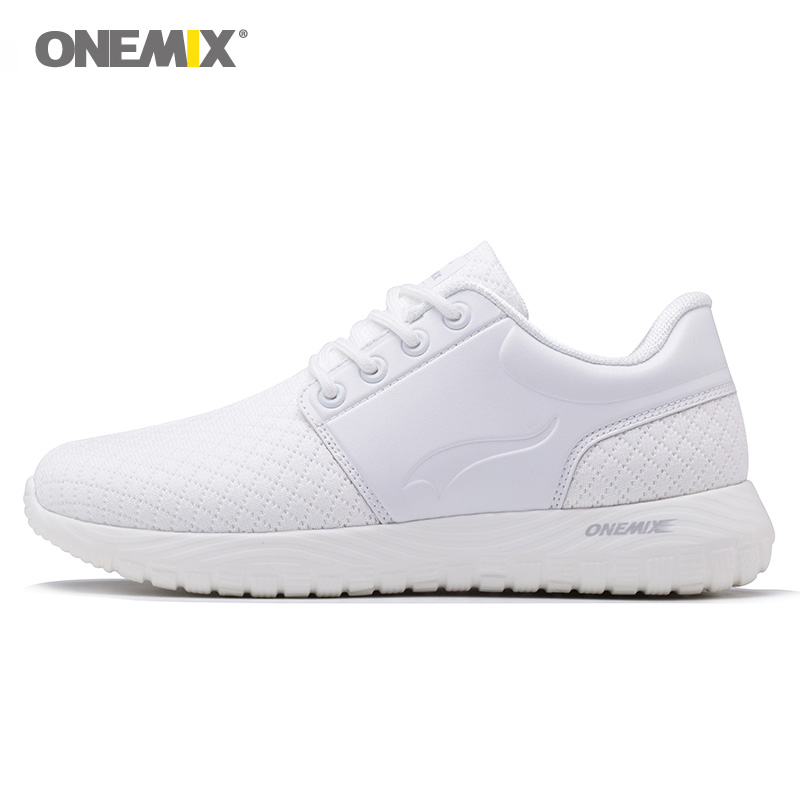 ONEMIX Woman Running Shoes Women Run Sports Shoe Light Soft White Retro Classic Athletic Trainers Outdoor