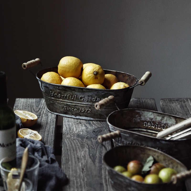 Cesta de Metal de hierro Vintage americano caja de almacenamiento maceta de flores para hornear cesta de almacenamiento decoración cesta de frutas para el hogar