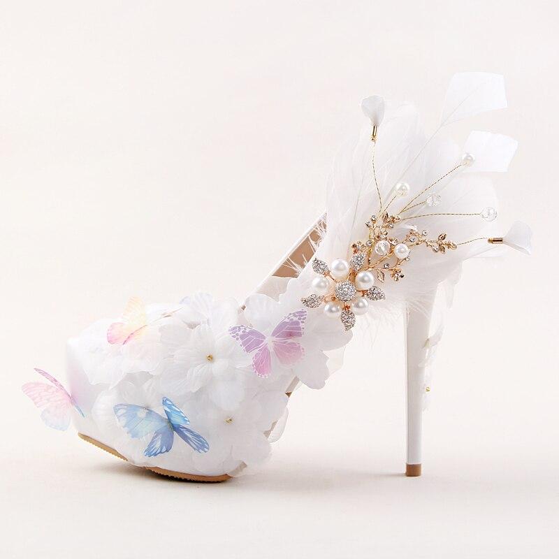 ФОТО New arrival Fashion platform shoes 12cm/14cm high shoes Party/Wedding bride shoes Flower white shoes round toe Pumps