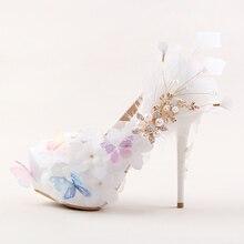 New arrival Fashion platform shoes 12cm/14cm high shoes Party/Wedding bride shoes Flower white shoes round toe Pumps