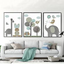 CV New Giraffe, Rabbit, Animals Canvas Painting Nordic Cartoon Oil Pictures Unframed