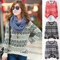 Suéter de manga larga suéteres de gran tamaño para para 2016 tótem Vintage pullovers sueltos knitwears cortos superior de la venta