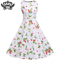 2016 New Summer Style Floral Print Party Dresses Women Rockabilly 50s 60s Print Dress Casual Sleeveless Vintage Dress Plus Size