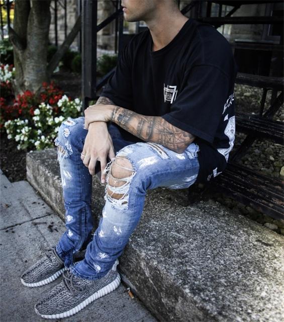 2018 kanye Men's Jeans Summer Ripped hip hop Skinny Biker Jeans Destroyed Frayed Slim Fit Denim Pants Pencil Pants streetwear