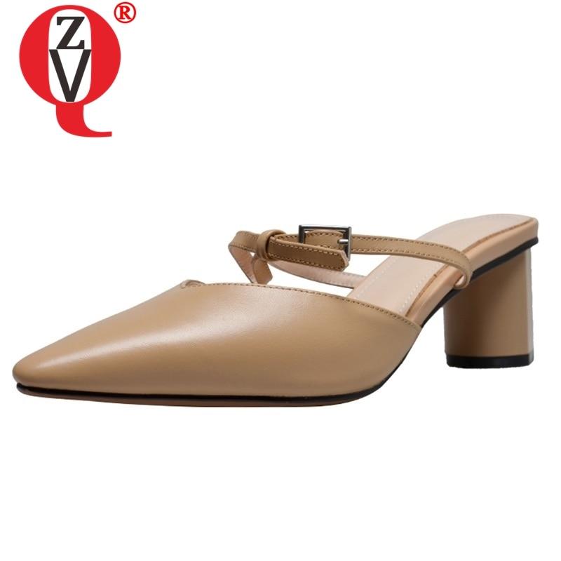 ZVQ chaussures femme été plus récent concis décontracté en cuir véritable bout pointu femme pantoufles à l'extérieur haute étrange style dames chaussures