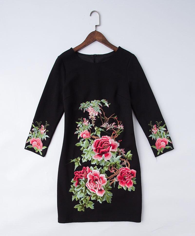 Qualité Plus De Femmes Élégant Slim Broderie La L'hiver Noir M Automne Mode rouge Haute Casual Lady Vintage Robe Et Piste Robes Taille 5xl Pour dnzx4Oq