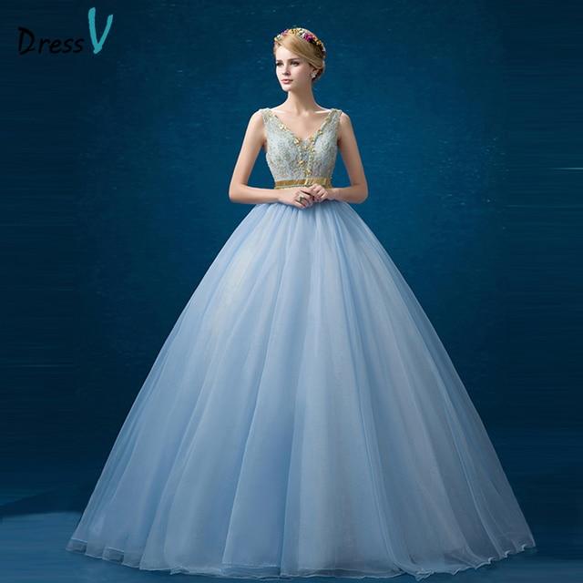 d931f3133b5b9 Dressv bleu ciel dentelle de perles quinceanera robe Col En V sans manches  à lacets robe