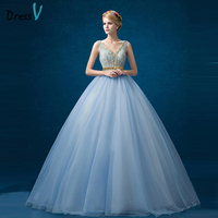 Dressv Sky Blue Beading Lace Quinceanera Dress V Neck Sleeveless Lace Up Ball Gown Long Beaded