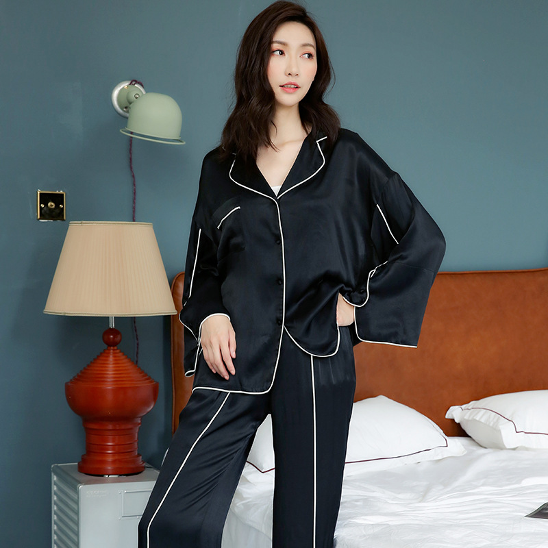 Ladies   Pajamas   Autumn Women's Long Sleeves Trousers Korean Loose Fashion   Pajama     Set   Solid Pyjamas Women Sleepwear Pijama Mujer