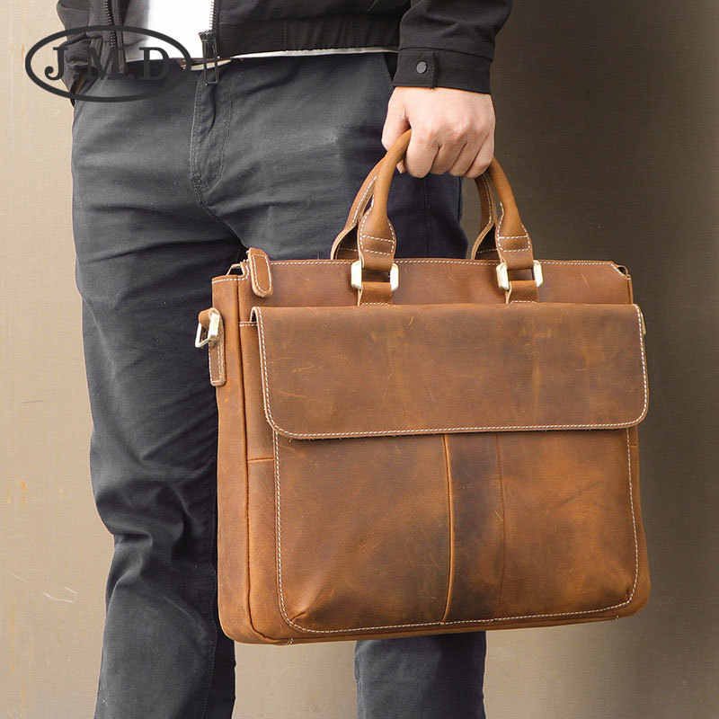 J.M.D 100% Men's Fashion Leather Bag Crazy Horse Leather  Cross Body Briefcase Sling Bag Shoulder Messenger Bag 7113