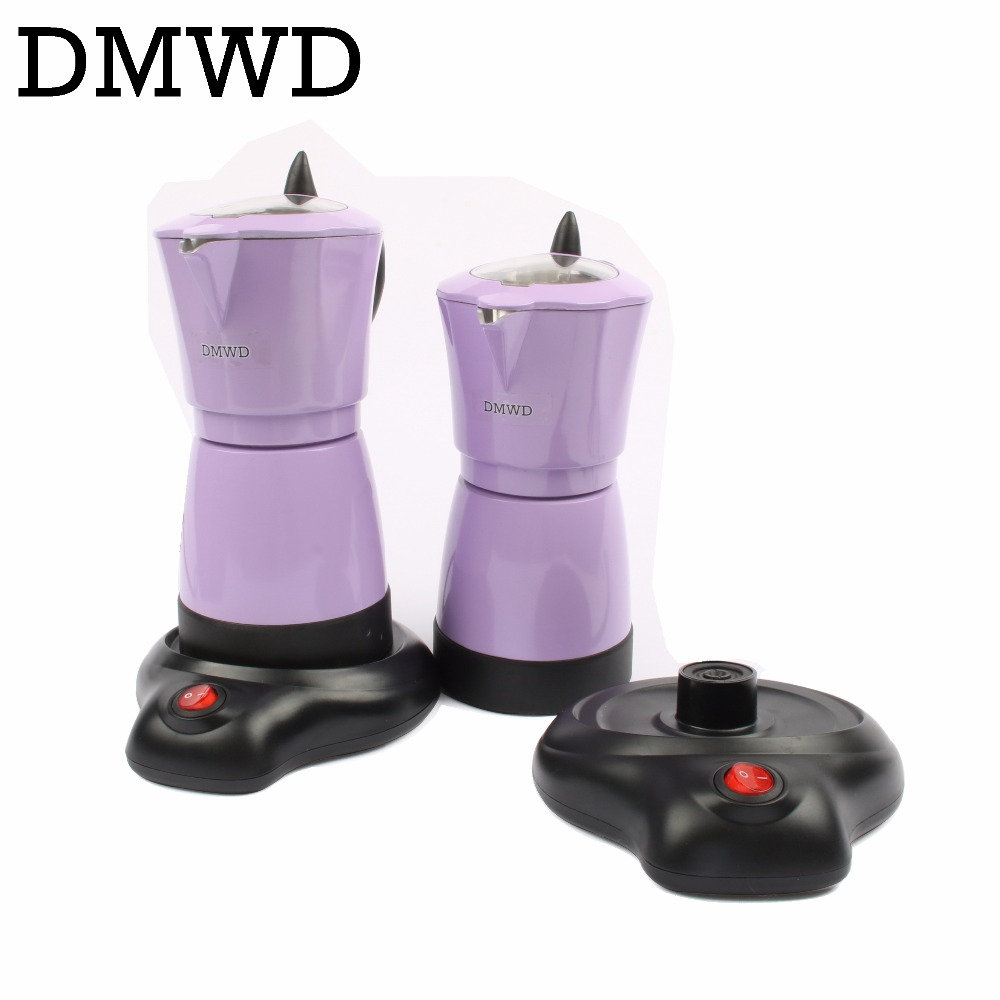 DMWD Household automatic Aluminum 6 cups Italian Stove top Moka espresso pot electric stovetop coffee maker 110V 220V EU US plug