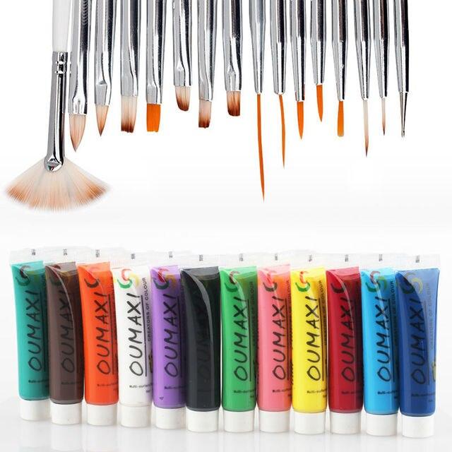 3D Nail Art Paint Brush Drawing Pen Pallet Acrylic Nail Art Kit Set 12 Colors Pigment For Nail Art Painting