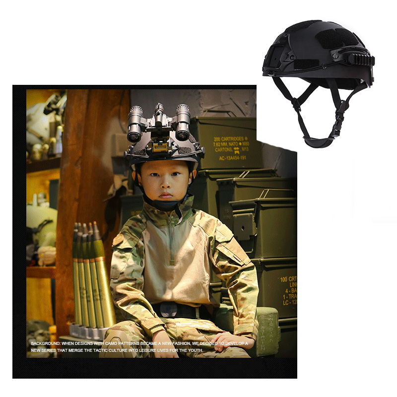 2019 NEW Black Kid Tactical Helmet 45-56cm Adjustable Airsoft Helmet For Kids