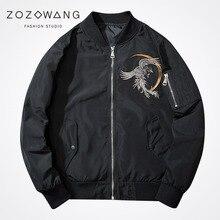 Zozowang 2017 new solid loose Cherry blossoms Embroidery Phoenix O-Neck zipper fashion bomber air force pilot coat men 2XL