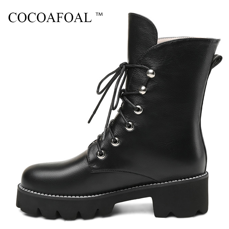 цена на COCOAFOAL Genuine Leather Lace Up Martin Boots Plus Size 33 43 Woman Autumn Winter Flat Chelsea Boots Fashion Black Ankle Boots