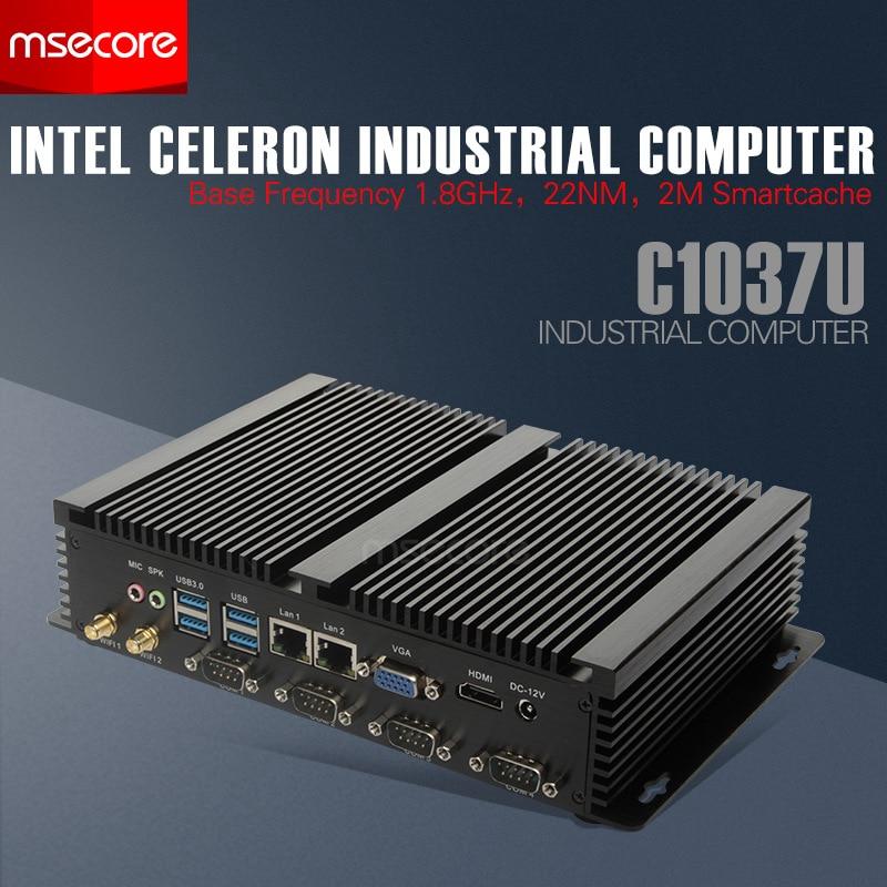 Intel Mini PC Celeron C1037U Windows 10 Desktop Computer Industrial NUC Nettop barebone system Fanless HTPC HD Graphics WiFi