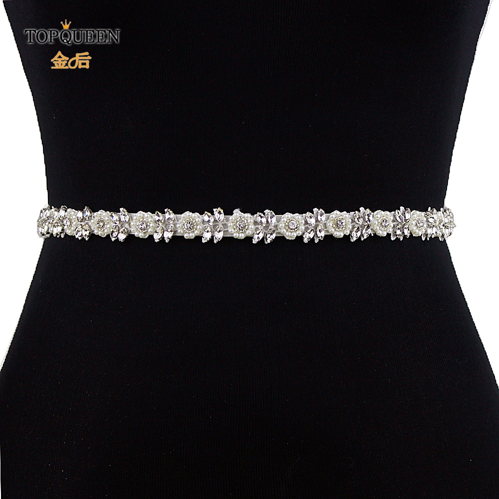 TOPQUEEN S101 Rhinestones Belt Beaded Pearl Wedding Belt For Party Wedding Decoration For Evening Dress Woman's Party Belt