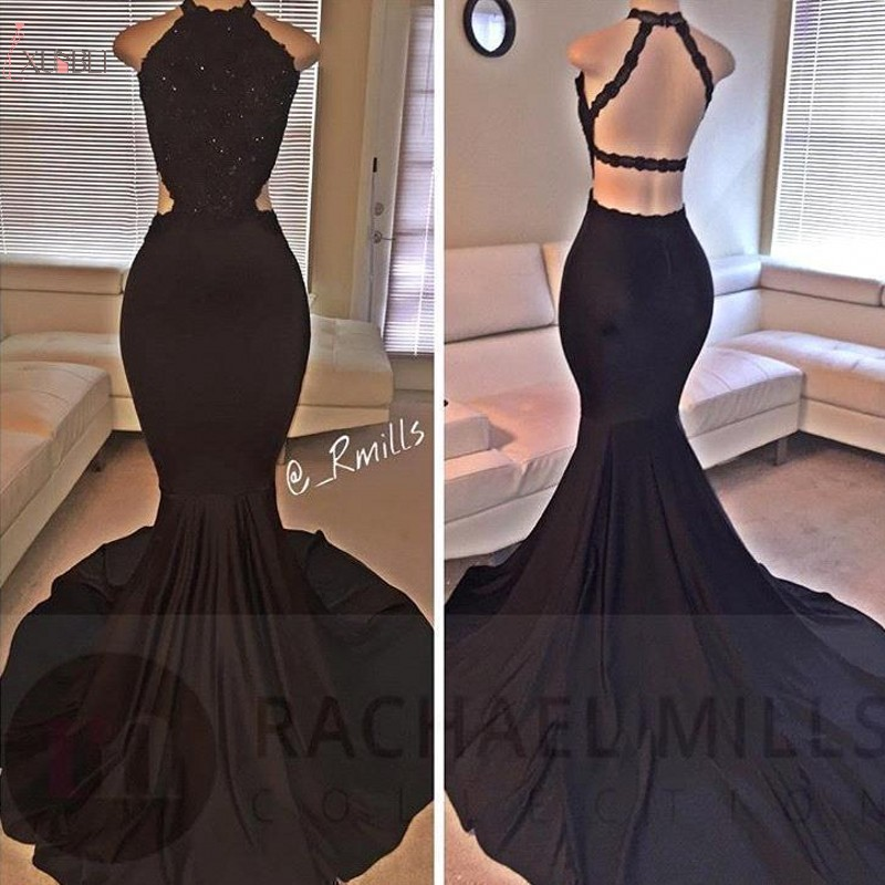 2019 Elegant Custom Made Black Mermaid Long   Prom     Dresses   Applique Backless Beading   Prom   Gown vestidos de festa gala jurken