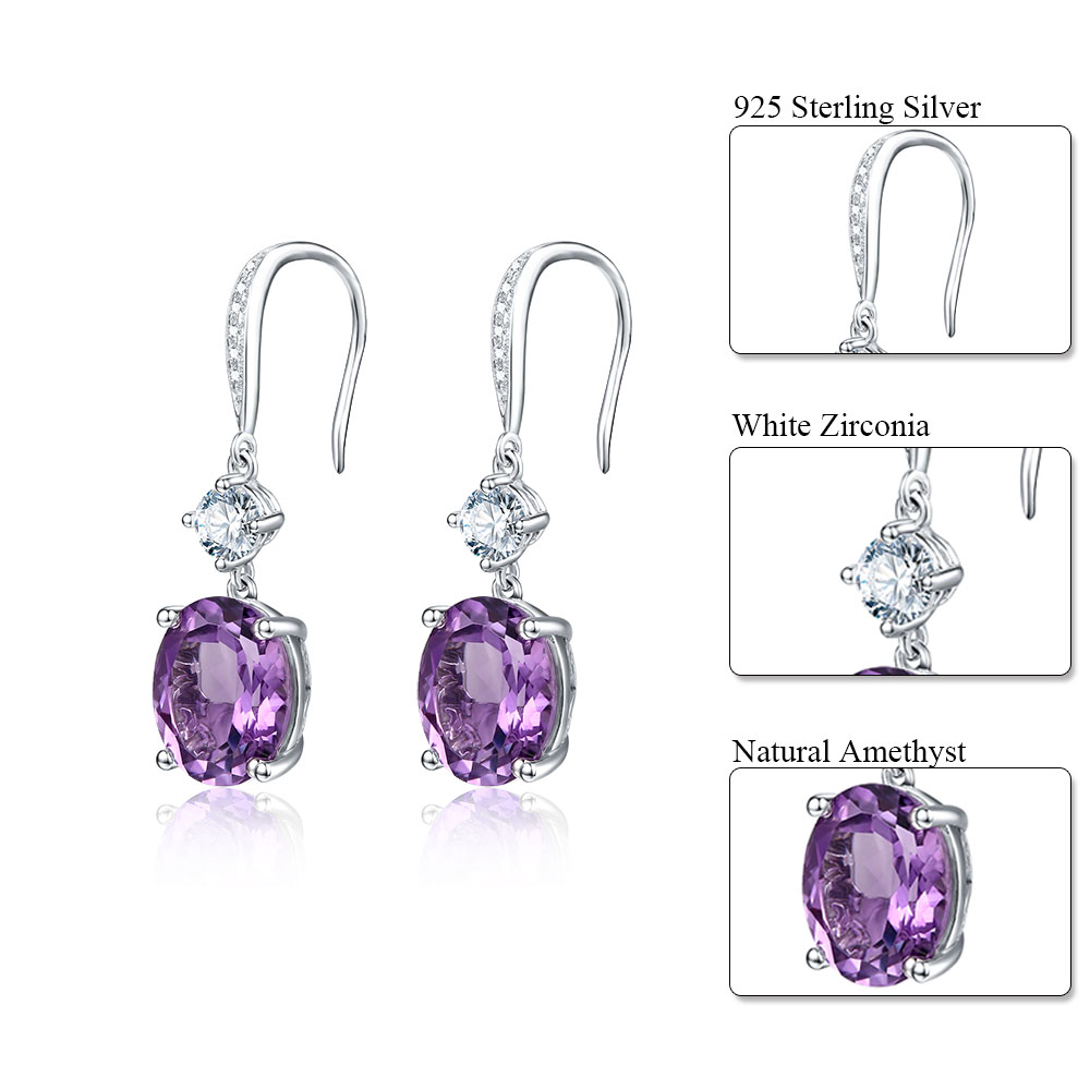 DOUBLE-R 4.95ct Asli Amethyst Alami 925 Sterling Silver Drop Earrings - Perhiasan bagus - Foto 3