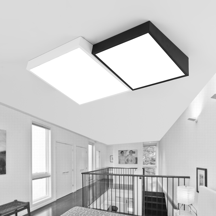 Modern Simple Led Acrylic ceiling lights Geometry rectangle White/Black Color  for living room bedroom home Light Fixture black or white rectangle living room bedroom modern led ceiling lights white color square rings study room ceiling lamp fixtures