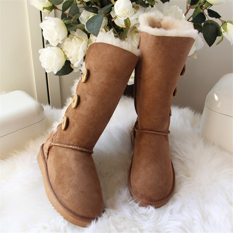 GRWG New 100% Genuine Sheepskin Leather Snow Boots Warm Natural Fur Women Wwinter Boots Women Warm Wool Snow Boots Free Shipping